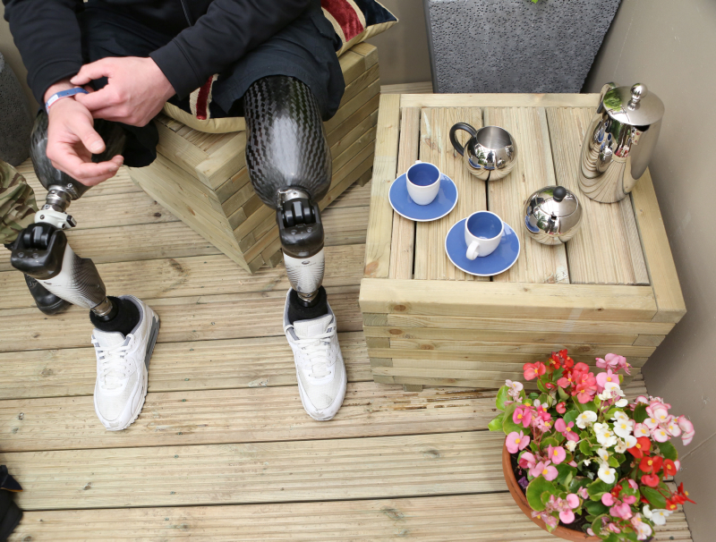 Double Amputee Soldier with Prosthetic Limbs at the Chelsea Flower Show