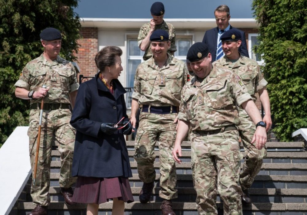 HRH, The Princess Royal being escorted by Officers of 1 Regiment Royal Logistic Corps at St Davids Barracks