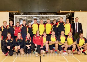 The Double Indoor Champions with their new chairman, Col Tonkins
