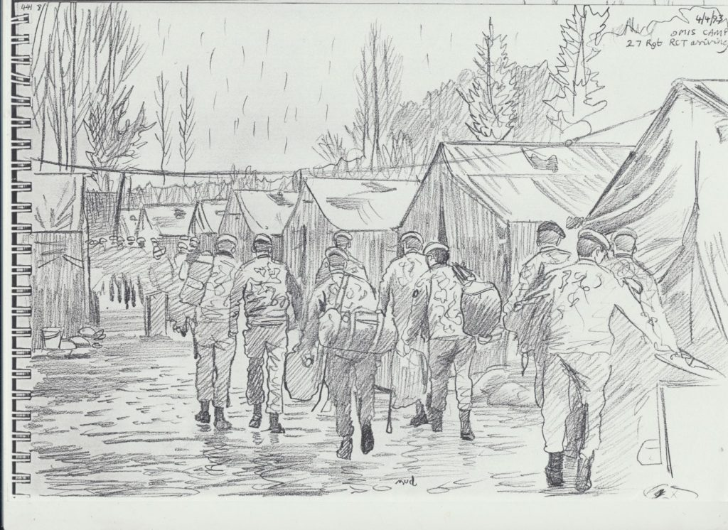 David sketched 27 Regiment on parade to mark the formation of The RLC at Omis Camp