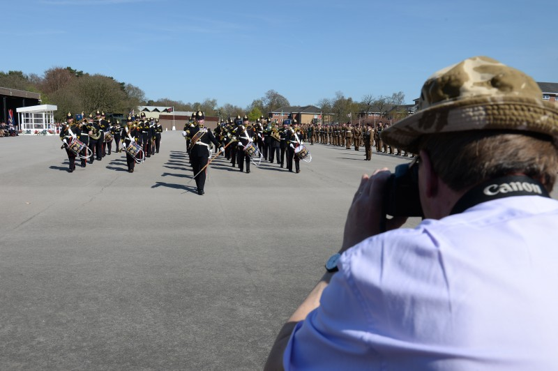 David attended attended both the rehearsal, the day before and the parade itself in order to help him create the RLC's 25th anniversary painting