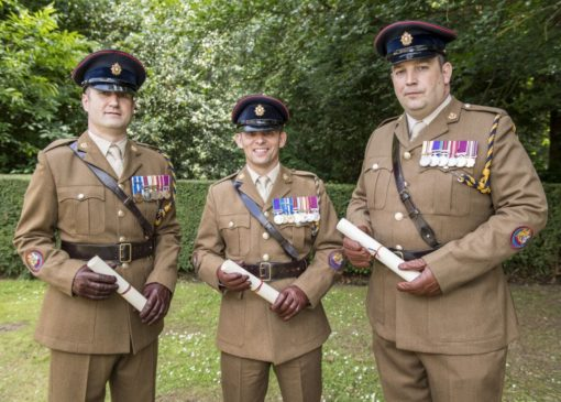 Parchments were presented to logistic specialist supply warrant officer Class 1 (WO1) Daniel Winfield, petroleum operator WO1 Paul Franks and ammunition technician WO1 Andrew Bannister. Pics: Corporal Ben Beale/ MoD Crown