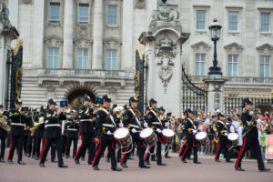 Musicians from the Band Of The Royal Logistic Corps march off the forecourt of Buckingham Palace and march towards St James Palace. Photo: Sgt Randall RLC