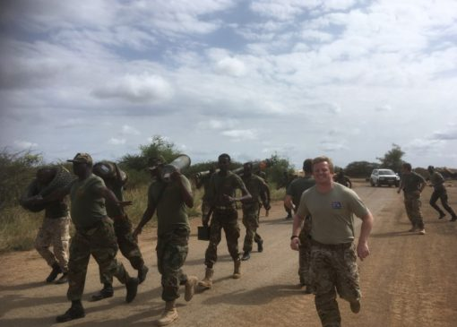 Capt Rob Cooke undertaking PT alongside the Somali National Army in Baidoa