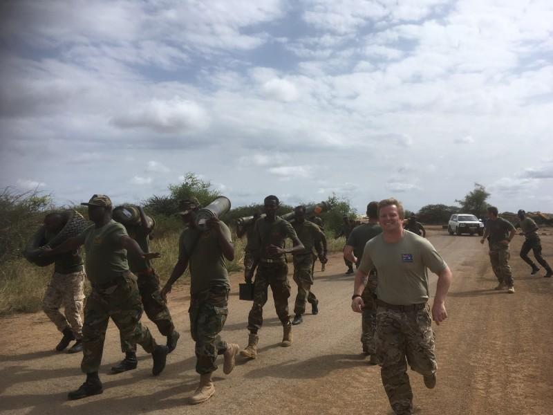 Capt Rob Cooke undertaking PT alongside the Somali National Army in Baidoa