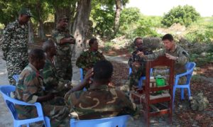 Lt Col Steve Fisher engaging with senior members of the Somali National Army General Staff