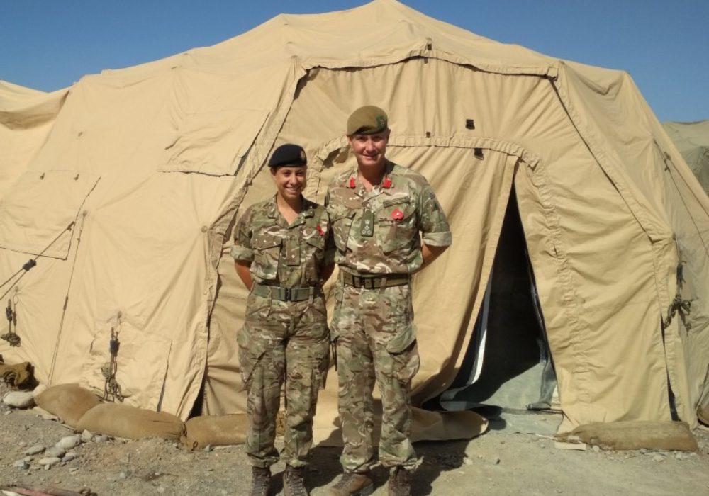 Sarah pictured with Brigadier Zac Stenning Commander 1 Armoured Infantry Brigade
