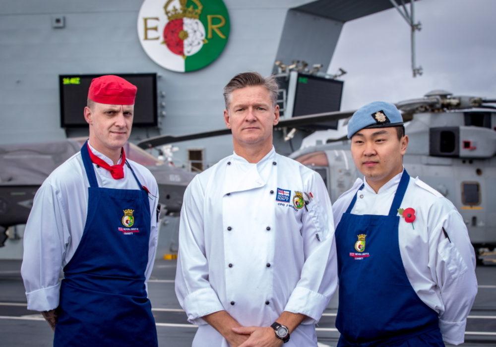 RLC chef LCpl Scott is working onboard HMS QUEEN ELIZABETH alongside Royal Naval chefs
