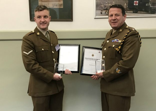 Maj Dean Hammett (left) was runner-up in the Apprenticeship Champion category and LCpl Charlie Phillips (29 Regt RLC) received the Intermediate Level 2 Apprentice runner up award