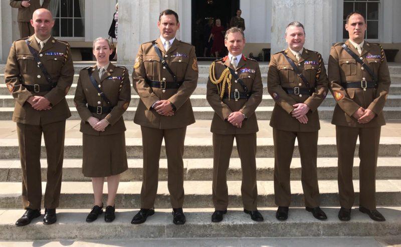 WO1 (RSM) Robinson, WO1 (RSM) Cox, Army SM, CGS, WO1 (Cdr) Ladell and WO1 (SSM) Dickinson at Sandhurst